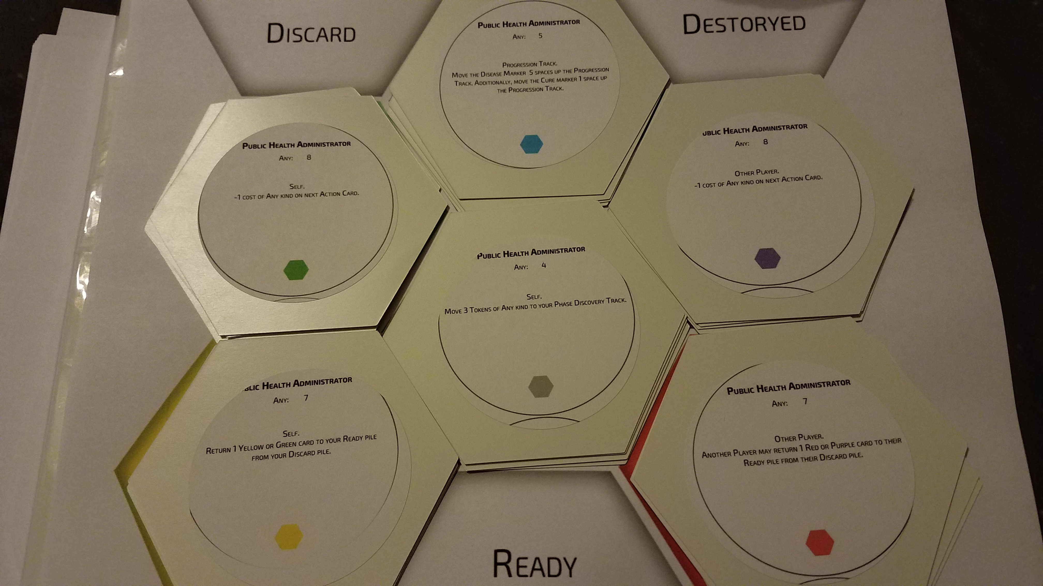 First prototype cards for Outbreak game.