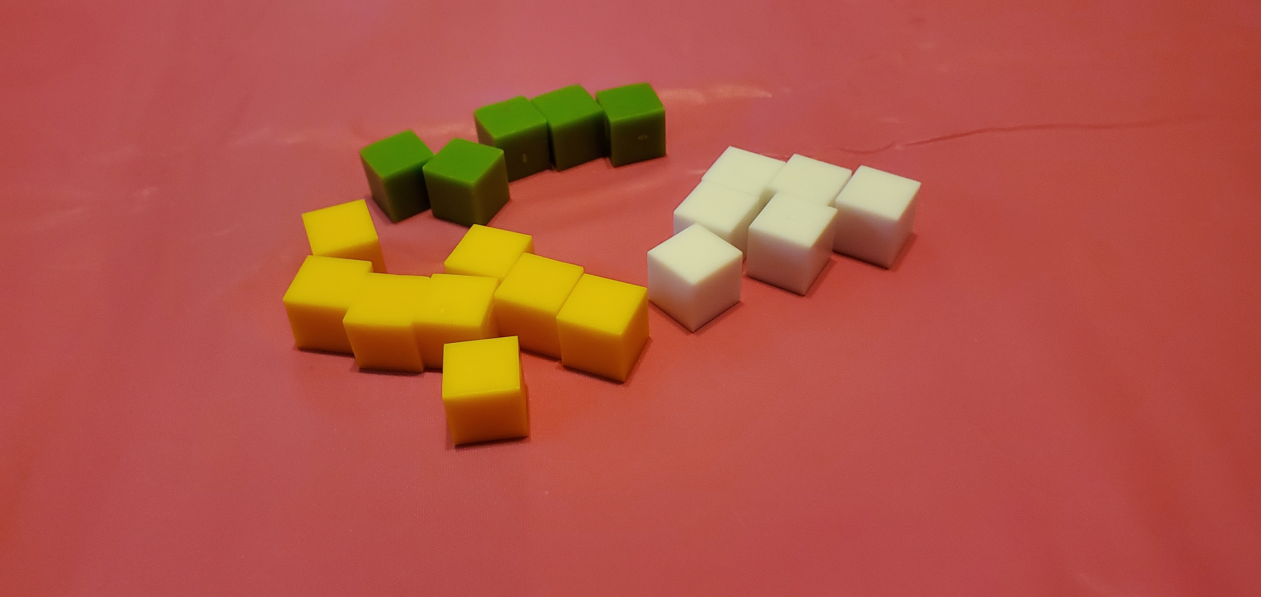 Selection of acrylic gaming cubes.
