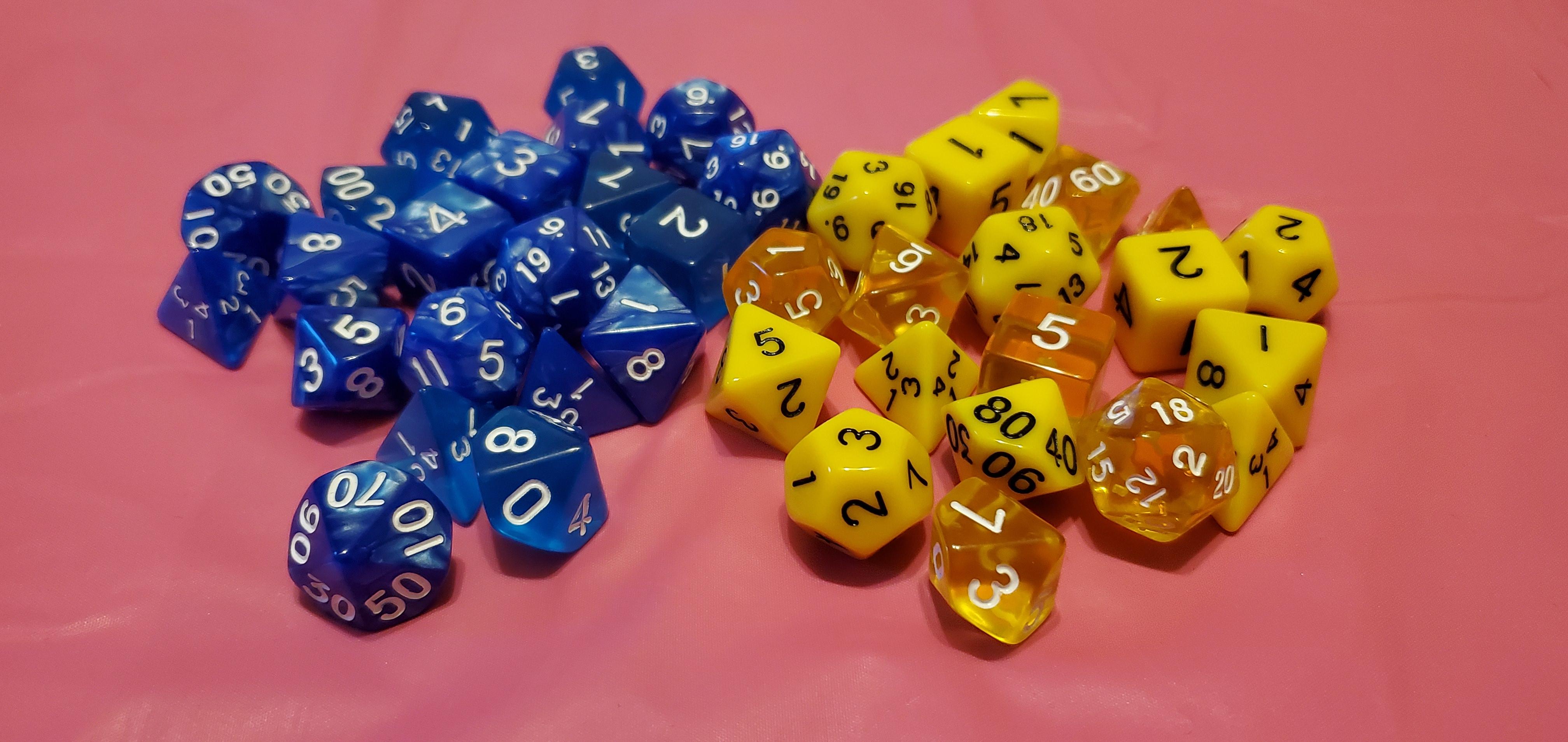 Sets of RPG game dice.