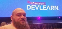 Shawn in the front row of the DevLearn keynote