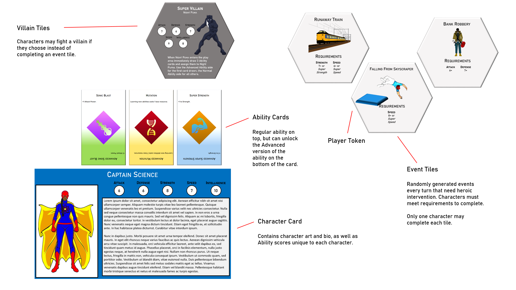 One page design document for Superhero game