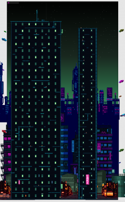 The full vertical gamespace of Tower Hacker.