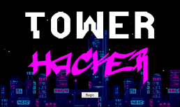 Tower Hacker game splash screen, with the logo in the front and a cyberpunk city skyline in the background